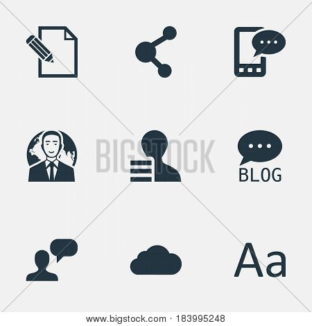 Vector Illustration Set Of Simple Blogging Icons. Elements Overcast, Share, Man Considering And Other Synonyms Gain, Network And Phone.