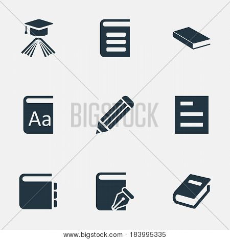 Vector Illustration Set Of Simple Knowledge Icons. Elements Encyclopedia, Graduation Hat, Pen And Other Synonyms Reading, Document And Hat.