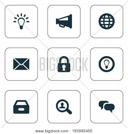Vector Illustration Set Of Simple Trade Icons. Elements World, Megaphone, Bulb And Other Synonyms World, Box And Seek.