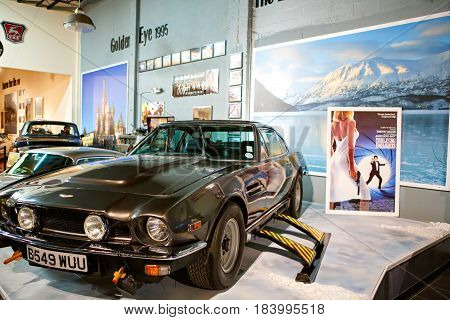 MIAMI, FLORIDA, USA - APRIL 11: Miami Auto Museum exhibits a collection of vintage and cinema automobiles, bicycles and motorcycles on April 11, 2016 in Miami, Florida, USA.