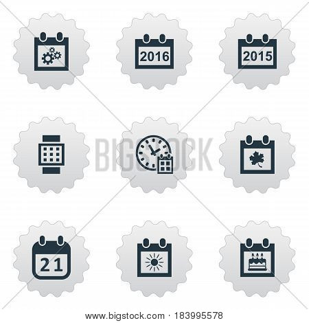 Vector Illustration Set Of Simple Date Icons. Elements Almanac, Intelligent Hour, Special Day And Other Synonyms Watch, Clock And Autumn.