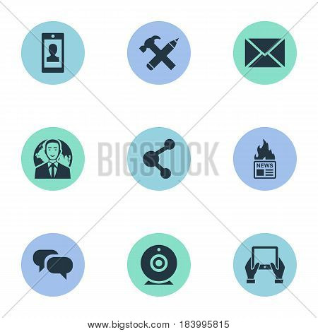 Vector Illustration Set Of Simple Blogging Icons. Elements Share, Profile, Notepad And Other Synonyms Camera, Repair And Missive.