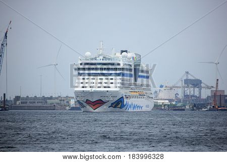 Velsen the Netherlands -April 24th 2017: Aida Diva in IJmuiden sea lock the largest sea lock in the world