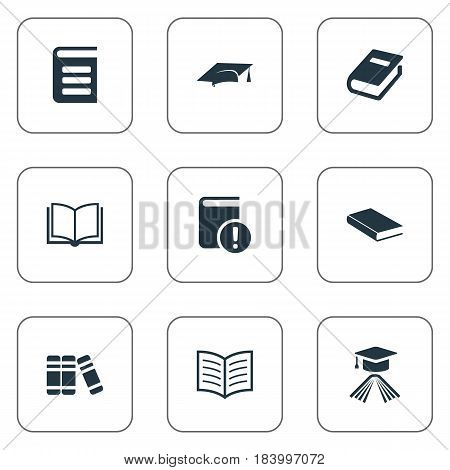Vector Illustration Set Of Simple Reading Icons. Elements Bookshelf, Encyclopedia, Book Page And Other Synonyms Notebook, Dictionary And Blank.