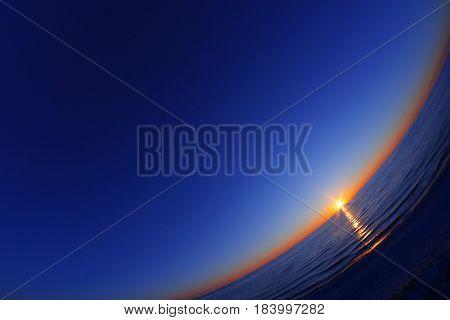 Beautiful sunset on the sea. Fisheye lens