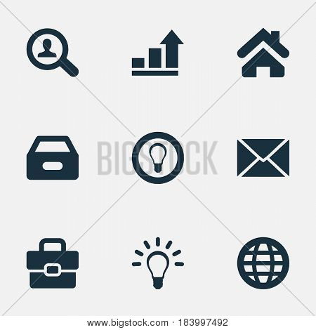 Vector Illustration Set Of Simple Business Icons. Elements Dossier, Suitcase, Bulb And Other Synonyms World, Progress And Seek.