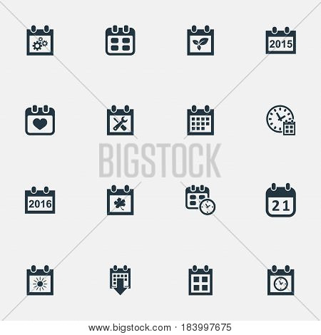 Vector Illustration Set Of Simple Time Icons. Elements 2016 Calendar, Almanac, Annual And Other Synonyms Reminder, History And Plant.