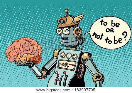 Artificial intelligence and the human brain. to be or not to be a scene from Shakespeare. Pop art retro vector illustration