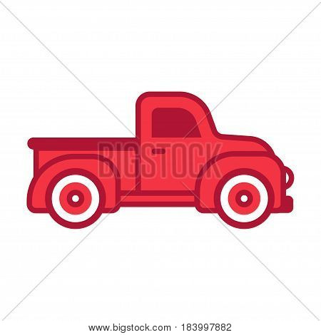 Classic retro red pickup truck. Simple flat cartoon style vector illustration.