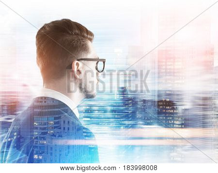 Side view of a bearded businessman in glasses looking at a blurred city panorama. Mock up toned image double exposure