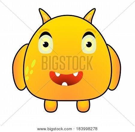 Cartoon Funny Cute Yellow Fantasy Monster Character