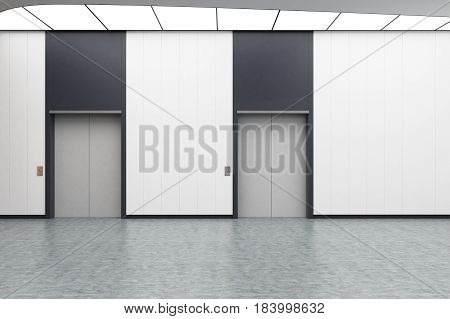 Interior of an elevator hall with white walls concrete floor and two elevators with gray doors. 3d rendering mock up
