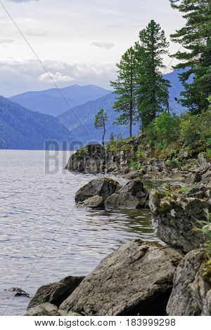 Siberia, Teletskoye Lake. View from the eastern shore to the northern part of the lake