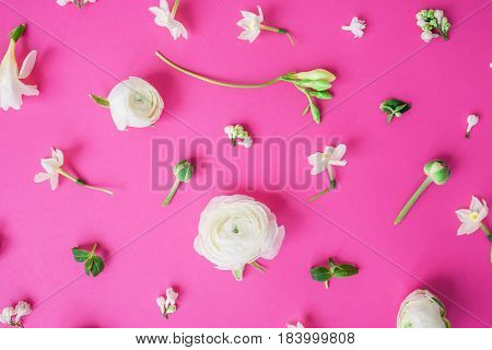 Floral pattern of white ranunculus, snapdragon and leaves on pink background. Flat lay, top view. Summer background.