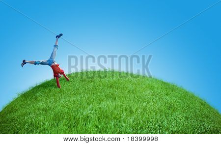 young girl do acrobatic feat
