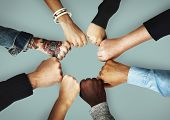 Group of people fist bump assemble together poster