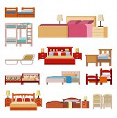 Vector bed icon set interior home rest collection sleep furniture comfortable night illustration. House relaxation information hostel bedtime modern service sign. poster