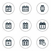 Vector Illustration Set Of Simple Time Icons. Elements Date, Almanac, Intelligent Hour And Other Synonyms Data, Agenda And Annual. poster
