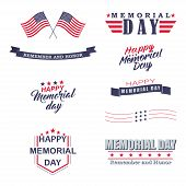 Memorial day design elements. Happy Memorial Day, Remember and Honor lettering for holiday design. Isolated on white background. Vector illustration. poster