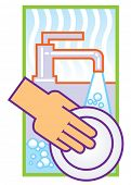 washing dishes poster