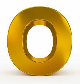 Letter O 3D Golden Isolated On White
