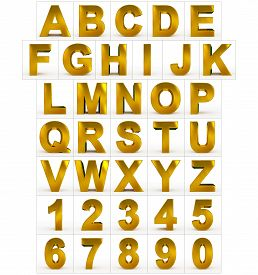 Letters And Numbers 3D Golden Isolated On White