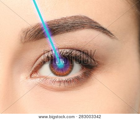 Laser And Young Woman, Closeup Of Eye. Visiting Ophthalmologist For Vision Correction