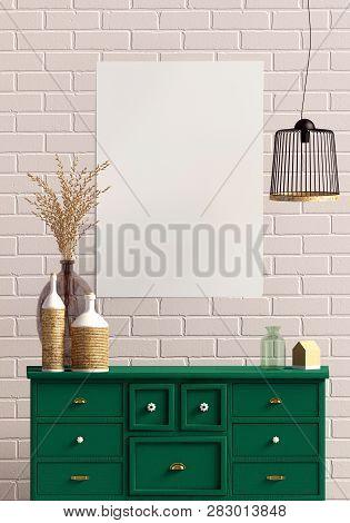 Modern interior with dresser. Poster mock up. 3d illustration. poster