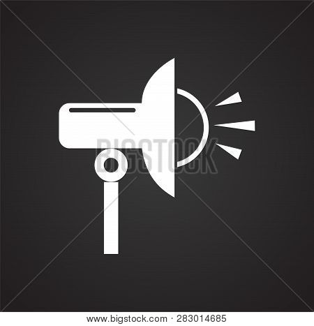 Studio Flash Strobe Icon On Black Background For Graphic And Web Design, Modern Simple Vector Sign.