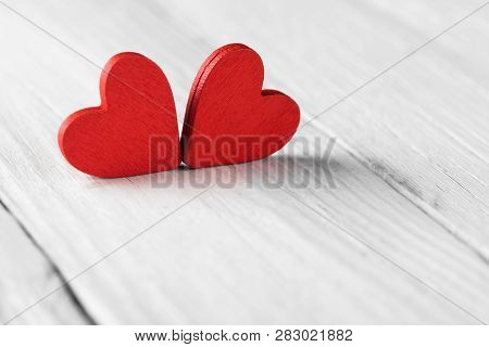 Valentine Background With Handmade Heart On Rustic Wood. Saint Valentines Day Greeting Card.