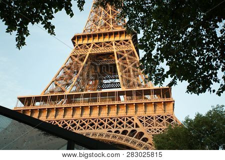 Paris, France - October 01, 2018: Eiffel Tower Close-up In A Frame