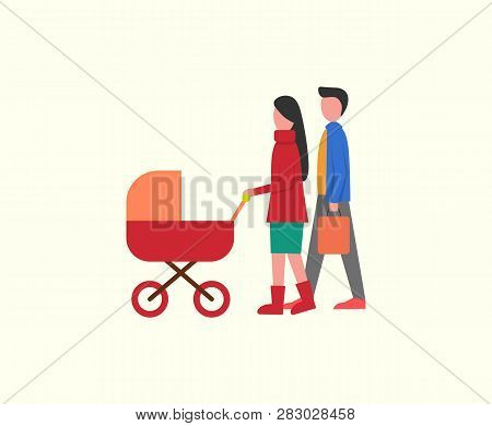 People With Kid In Pram, Family Walking Together Vector. Newborn Kid In Perambulator, Father And Mot