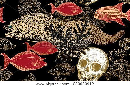 Underwater World. Seamless Pattern Kitchen Design. Coral Decorative Fish, Corals And Human Skull. Il