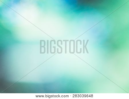 Blurred Lights On Blue Background. Abstract Teal Background. Blurred Turquoise Water Backdrop  For Y