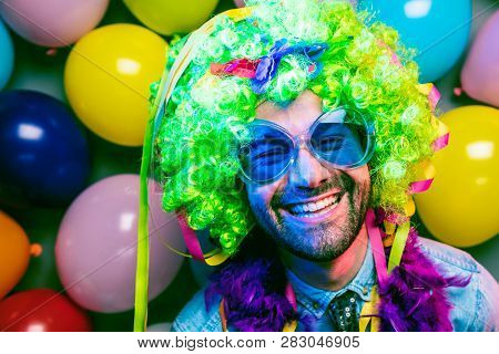 Happy Funny Man At Carnival Party Dancing Man