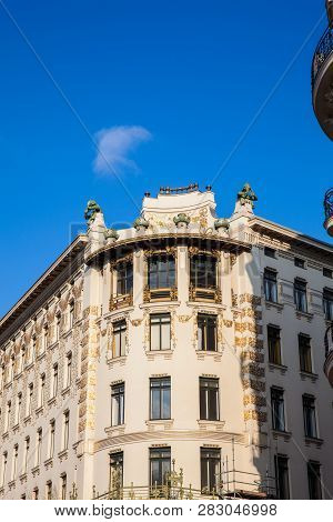 Beautiful  Architecture Of The Antique Buildings At Linke Wienzeile In Vienna City Center