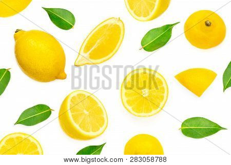 Lemon Pattern. Lemon Fruits  And Slices With Leaf Isolated On White Background. Flat Lay, Top View