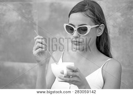 Start The Day With Great Taste. Pretty Woman Sip Beverage With Drinking Straw. Cute Woman Drink Thro