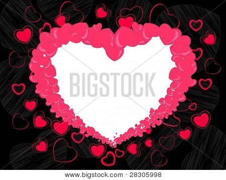 Abstract heart shape frame made with pink heart and copy space on seamless black background for valentines day and other occasions.