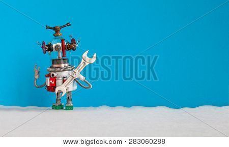 Maintenance Service Concept. Funny Electrician Robot Handyman Ready For Repair Housework. Robotic To