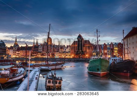 View On Zuraw In Gdansk From The Port Harbour Of The Motlawa Near Olowianka Island.