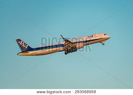 Tokyo, Japan - Feb.2, 2019: Airbus A321-200n (a321 Neo) Taking Off From The Haneda International Air