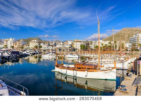 Mallorca Island, Balearic Islands, Spain - January 5, 2019: Picturesque Harbor With Fishing Boats In
