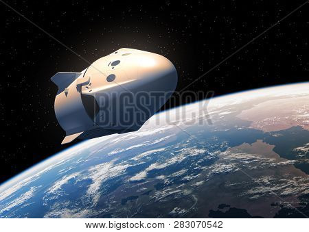 Commercial Spacecraft In Outer Space. 3d Illustration.