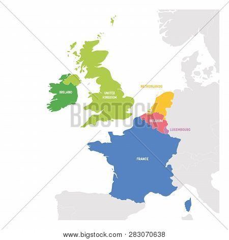 West Europe Region. Colorful Map Of Countries In Western Europe. Vector Illustration