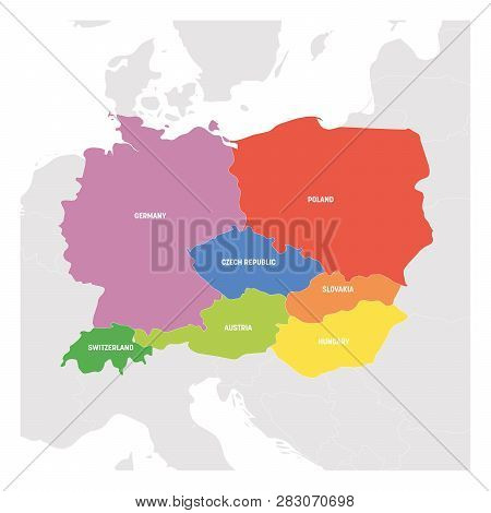 Central Europe Region. Colorful Map Of Countries In Central Part Of Europe. Vector Illustration