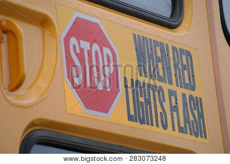 Close-up Photos Of A Yellow School Bus.