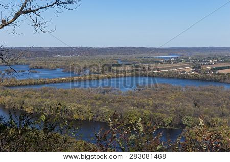 Confluence Of Wisconsin And Mississippi Rivers From Atop Bluffs At Wyalusing State Park And Iowa In