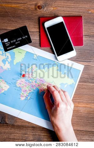 Travel Booking Concept Top View On Wooden Background Mock Up
