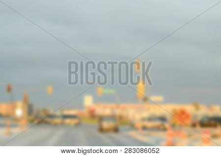 Blurred Background Photo. Streetlife Out Of Focus Image. Defocused Travel Picture. City Street Blurr